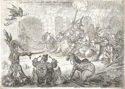 Карикатура Джеймса Гилрея на законопроект 1806 года, в соответствии с которым предлагалось ежегодно набирать 200 000 призывников на 24-дневную военную подготовку (The Training Act).