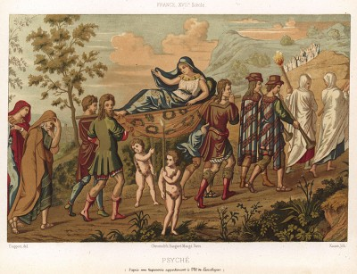 Древнегреческая богиня Психея, олицетворяющая душу и дыхание, отправляется на встречу со своим будущим супругом Эротом, сыном Венеры Олимпийской (из Les arts somptuaires... Париж. 1858 год)