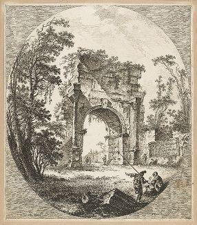Триумфальная Арка Друза. Офорт аббата де Сен-Нона по рисунку Жан-Батиста Лепренса, 1756 год.