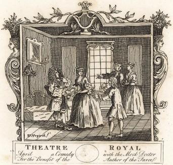 Входной билет на бенефисную постановку фарса Генри Филдинга «Мнимый врач, или Излечение немой леди», состоявшуюся 23 июня 1732 г. в королевском театре «Друри Лейн». На гравюре сцена из спектакля. Лондон, 1838