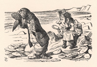 """""""Мне так вас жаль"""", -- заплакал Морж и вытащил платок (иллюстрация Джона Тенниела к книге Льюиса Кэрролла «Алиса в Зазеркалье», выпущенной в Лондоне в 1870 году)"""