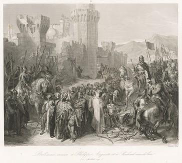 3 июля 1191 г. Третий крестовый поход. Король Франции Филипп II Август и Англии Ричард Львиное сердце принимают капитуляцию защитников Акры. Galerie Historique de Versailles. Париж, 1843-50