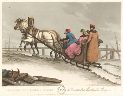 Сани. A Picture of St. Petersburgh, Represented in a Collection of Twenty Interesting Views of the City, the Sledges, and the Рeople… Taken on the Spot, at the Twelwe Different Months of the Year. Л.4. Лондон, 1815