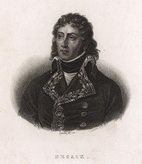 Луи-Шарль-Антуан Дезе (1768-1800). Победа французов в сражении при Маренго 14 июля 1800 г. была куплена дорогой ценой: они потеряли 7 тысяч человек и дивизионного генерала Дезе (убит пулей в сердце первым же выстрелом).