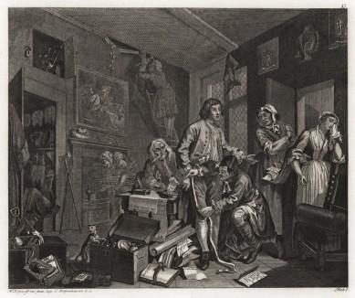 Карьера мота, гравюра I. «Вступление в наследство», 1735. Молодой человек получает богатое наследство. На гравюре: плачет горничная, уволенная новым хозяином, старый слуга ворует монеты, портной снимает с юноши мерки для нового платья. Геттинген, 1854