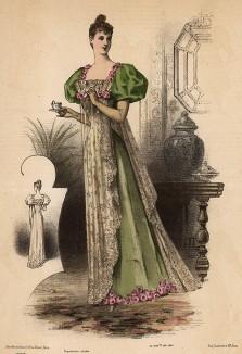 Оливковое утреннее платье с кружевной накидкой, украшенное розами. Из французского модного журнала Le Coquet, выпуск 296, 1892 год