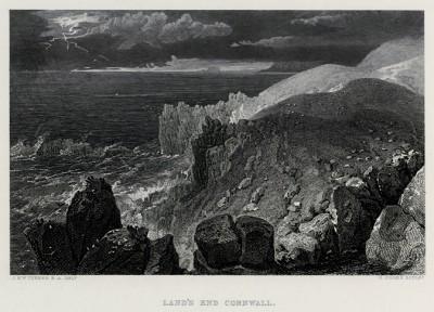 """Мыс Лэндз-Энд (конец Земли) в Корнуолле (лист из альбома """"Галерея Тёрнера"""", изданного в Нью-Йорке в 1875 году)"""