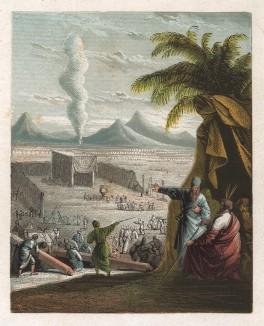 """Бог даёт Моисею повеление об устроении скинии (походного храма), о фимиамах и священнических жертвах: """"Всё, как Я показываю тебе, и образец скинии, и образец всех сосудов её; так и сделайте"""" (Исход, 25:9)."""