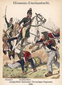 Кавалеристы ландграфства Гессен атакуют французскую пехоту в 1793 г. Uniformenkunde Рихарда Кнотеля, л.30. Ратенау (Германия), 1890
