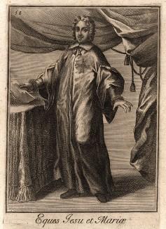 Рыцарь ордена Иисуса и Марии, учреждённого в 1615 г. папой Павлом V. Catalogo degli ordini equestri, e militari еsposto in imagini, e con breve racconto. Рим, 1741