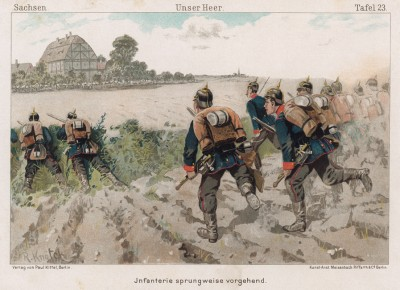 Саксонская пехота на учениях в 1890-е гг. Vaterland in Waffen. Illustrierte Unterhaltungsblätter für das deutsche Volk und Heer, л.23. Берлин, 1895
