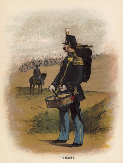 Барабанщик пехотных частей голландской армии (иллюстрация к работе Onze krijgsmacht met bijshriften... (голл.), изданной в Гааге в 1886 году)