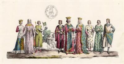 """Король Франции Людовик VIII Лев (1187--1226), его супруга королева Бланка Кастильская (изобретательница парика) и другие персонажи эпохи (из работы Джулио Феррарио """"Il costume antico e moderno..."""", изданной в Милане в 1826 году (Европа. Том V))"""