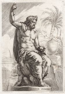 Юпитер Олимпийский с орлом. Лист из Sculpturae veteris admiranda ... Иоахима фон Зандрарта, Нюрнберг, 1680 год.