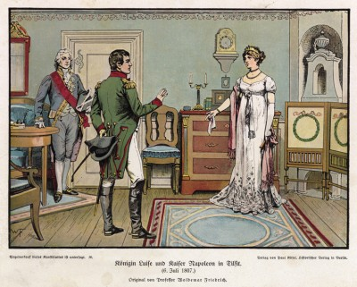 6 июля 1807 года. Королева Луиза Прусская просит Наполеона о более мягких условиях мира в Тильзите. Die Deutschen Befreiungskriege 1806-1815, Берлин, 1901