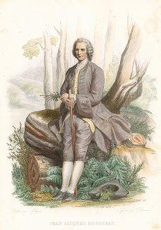 Жан-Жак Руссо (1712-1778) - знаменитый французский писатель и мыслитель. Лист из серии Le Plutarque francais..., Париж, 1844-47 гг.