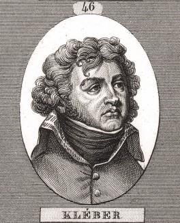 Жан-Батист Клебер (1753-1800), учился архитектуре, поручик австрийской службы (1772), инспектор строений в Эльзасе (1783-89), полковник (1792), подавлял Вандейское восстание (1793), дивизионный генерал (1800) и главнокомандующий во время египетского похода