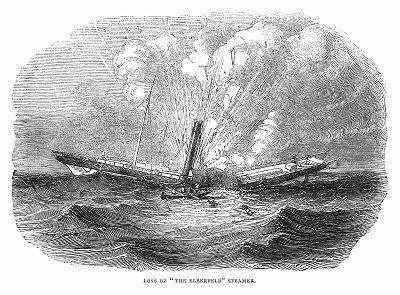 """Кораблекрушение парохода британского флота """"Эльберфельде"""" в результате выхода из строя двигателя и последующего взрыва парового котла (The Illustrated London News №96 от 02/03/1844 г.)"""