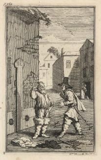 Гудибрас в печали. Сцена 3. Освобожденный из плена, но лишенный всех пожитков, Гудибрас размышляет, что делать дальше. Иллюстрация к поэме «Гудибрас». Лондон, 1732