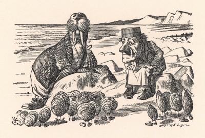 """Взмолились Устрицы: """"Постой! Дай нам передохнуть!"""" (иллюстрация Джона Тенниела к книге Льюиса Кэрролла «Алиса в Зазеркалье», выпущенной в Лондоне в 1870 году)"""