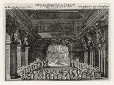 Ангелы поют в Иерусалимском храме (из Biblisches Engel- und Kunstwerk -- шедевра германского барокко. Гравировал неподражаемый Иоганн Ульрих Краусс в Аугсбурге в 1694 году)