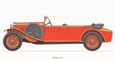 Автомобиль Tatra, модель 1925 года. Из американского альбома Old motorcars, «Veteran & Vintage», 60-х гг. XX в.