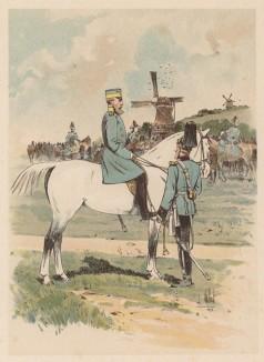 """Учения германской армии 1890-х гг. Драгунские полковник и лейтенант (из """"Иллюстрированной истории верховой езды"""", изданной в Париже в 1893 году)"""