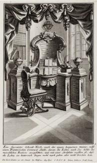 Интерьеры рококо. Кабинет с письменным столом. Johann Jacob Schueblers Beylag zur Ersten Ausgab seines vorhabenden Wercks. Нюрнберг, 1730