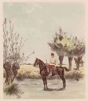 """Французский драгун на учениях (из """"Иллюстрированной истории верховой езды"""", изданной в Париже в 1893 году)"""