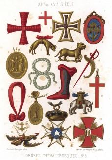 Орден Дракона и другие ордена, медальоны и прочие рыцарские знаки отличия в Европе XII-XIV вв. (из Les arts somptuaires... Париж. 1858 год)