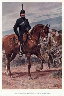 Офицер и барабанщик (справа) Девонширского полка (иллюстрация к His Magesty's Territorial Army... Лондон. 1911 год)