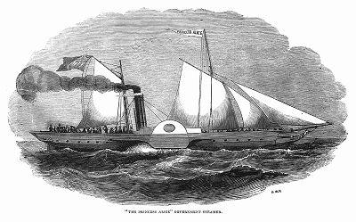 """Железный пароход британского флота """"Принцесса Алиса"""", способный двигаться с высокой скоростью, на борту которого в 1844 году Его Высочество принц Альберт отправился с визитом в Германский союз (The Illustrated London News №100 от 30/03/1844 г.)"""