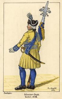 1725-1814 гг. Солдат швейцарской гвардии короля Саксонии с протазаном. Коллекция Роберта фон Арнольди. Германия, 1911-29