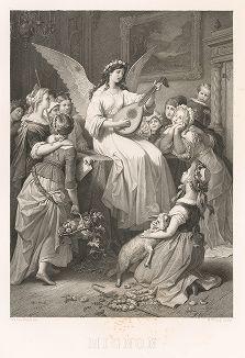 """Миньона, героиня произведения Иоганна Вольфганга фон Гёте """"Годы учения Вильгельма Мейстера"""". Лист из серии """"Goethe's Frauengestalten"""", Мюнхен, 1864 г."""