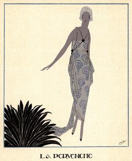 Женщина в платье бледно-голубого цвета с сиреневым оттенком. Рекламная иллюстрация неизвестного французского дома моды. Les feuillets d'art. Париж, 1920