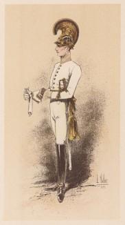 """Австрийский драгун в парадной форме образца 1838 года (из """"Иллюстрированной истории верховой езды"""", изданной в Париже в 1893 году)"""