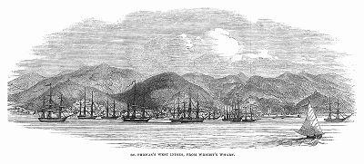 Остров Сент-Томас -- один из Американских Виргинских островов, расположенных в Карибском море, впервые колонизированный Голландской Вест-Индской компанией в 1657 году (The Illustrated London News №107 от 18/05/1844 г.)
