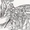 """Рыцарь де ля Тур передаёт книгу дочерям (иллюстрация к книге """"Рыцарь Башни"""", гравированная Дюрером в 1493 году)"""