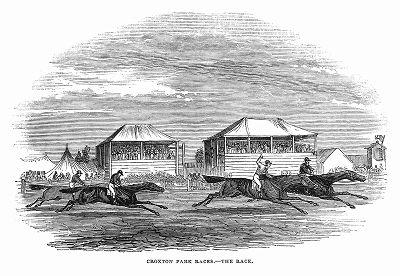 Скачки, проводимые на старом английском ипподроме Крокстон Парк в графстве Лестершир, который был разрушен во время Первой мировой войны (The Illustrated London News №101 от 06/04/1844 г.)