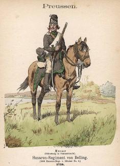 Прусский гусар полка фон Беллинга в униформе образца 1758 г. Uniformenkunde Рихарда Кнотеля, л.2. Ратенау (Германия), 1890