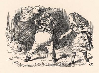 """""""Так я и знал!"""" - завопил Труляля, топая в бешенстве ногами, и принялся рвать на себе волосы. (иллюстрация Джона Тенниела к книге Льюиса Кэрролла «Алиса в Зазеркалье», выпущенной в Лондоне в 1870 году)"""