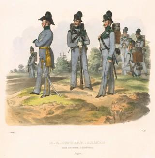 Офицер и солдаты австрийской лёгкой пехоты (егеря) (из K. K. Oesterreichische Armée nach der neuen Adjustirung in VI. abtheil. II te. Abtheil. Infanterie. Лист 12. Вена. 1837 год)