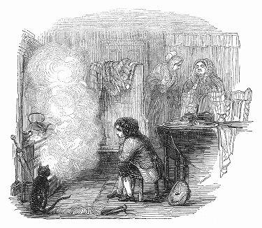 Иллюстрация к рассказу британского писателя о скучающем мальчике Джеймсе Уатте (1736 -- 1819 гг.), наблюдавшим за кипящим чайником, будущем шотландским инженером, изобретателем парового двигателя (The Illustrated London News №96 от 02/03/1844 г.)