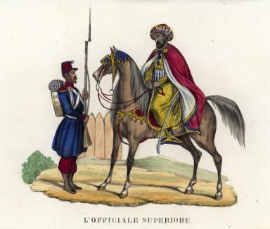 """Союзнику """"На караул!"""" (часовой приветствует бедуинского вождя, воюющего на стороне французов) (иллюстрация к L'Africa francese... - хронике французских колониальных захватов в Северной Африке, изданной во Флоренции в 1846 году)"""