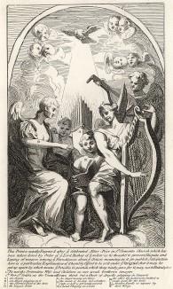 Алтарь Святого Климента, 1723. Существует мнение, что эта гравюра – шарж на творчество Уильяма Кента. Но сам Хогарт объясняет ее происхождение иначе: гравюра повторяет фреску из разрушенной церкви Святого Климента в Лондоне. Лондон, 1838
