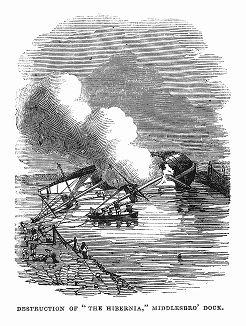 """Бриг британского флота """"Хиберния"""", потерпевший крушение в результате возгорания, находясь в доке английского города Мидлсбро -- морского порта в устье реки Тис (The Illustrated London News №99 от 23/03/1844 г.)"""