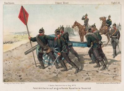 1890-е гг. Выход на позиции саксонской полевой артиллерии. Vaterland in Waffen. Illustrierte Unterhaltungsblätter für das deutsche Volk und Heer, л.26. Берлин, 1895