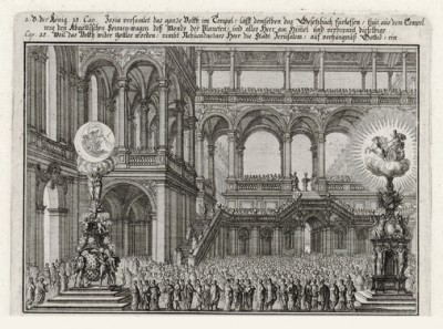 Восстановление Иосией Завета с Богом (из Biblisches Engel- und Kunstwerk -- шедевра германского барокко. Гравировал неподражаемый Иоганн Ульрих Краусс в Аугсбурге в 1700 году)