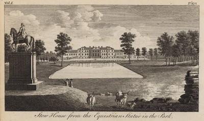 Вид на северный фасад Стоу-Хаус из парка (из A New Display Of The Beauties Of England... Лондон. 1776 год. Том 1. Лист 275)