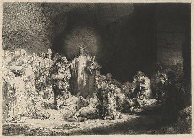 Христос, исцеляющий больных («Лист в сто гульденов»). Знаменитый офорт Рембрандта, выполненный в 1644-49 гг. .